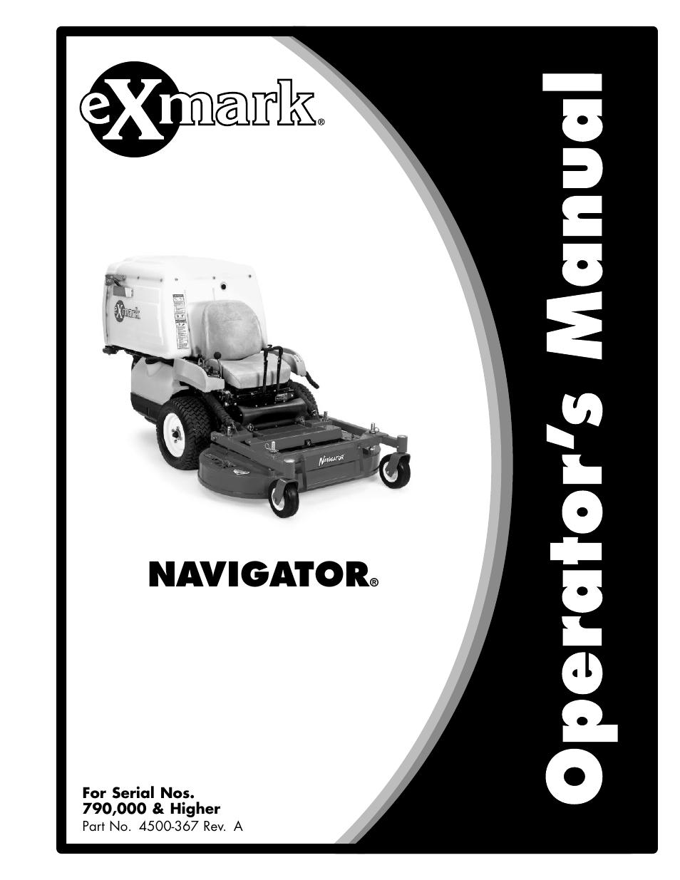 exmark navigator 4500 367 user manual 44 pages rh manualsdir com Exmark Navigator Mower Exmark Mowers