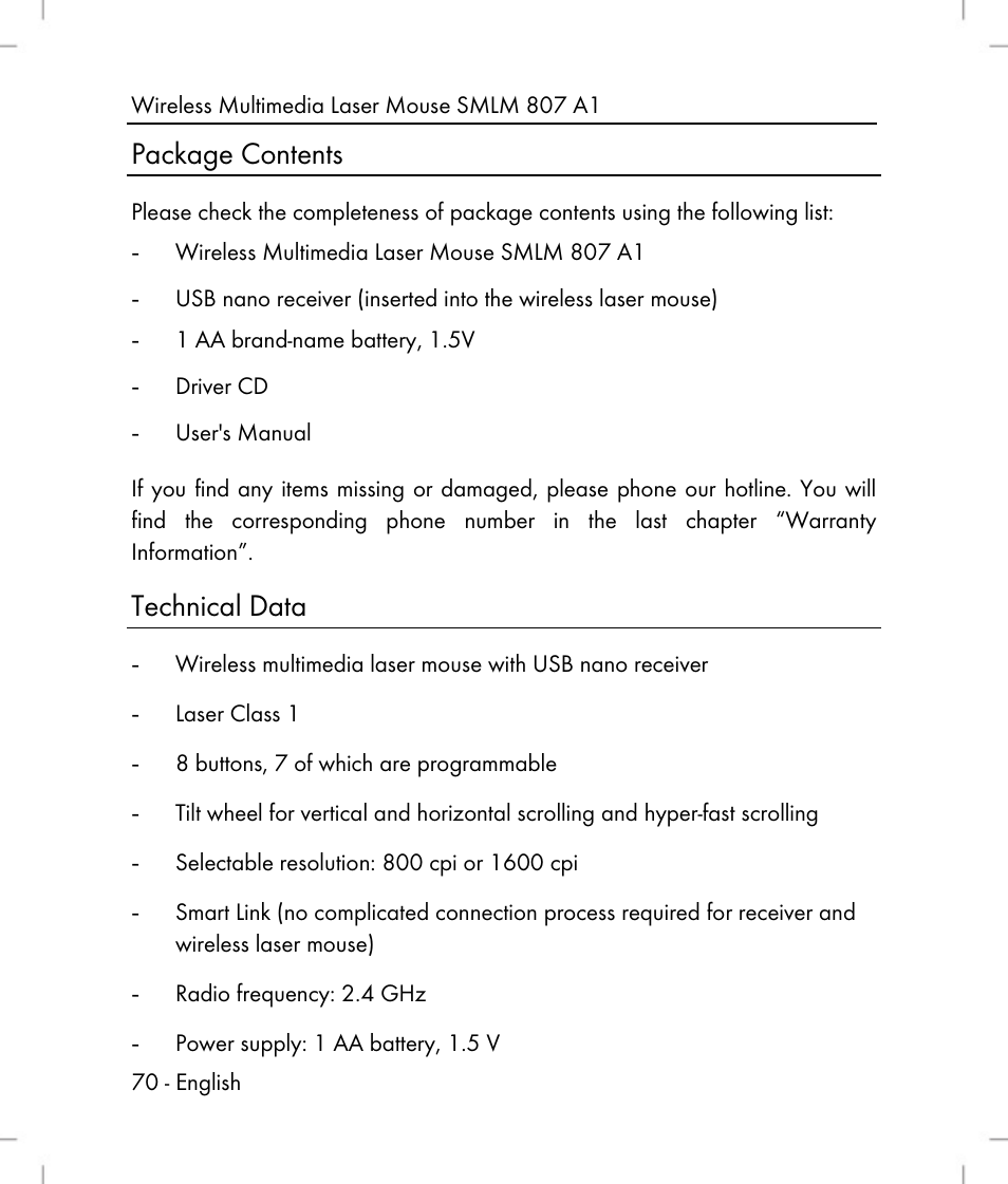 9128201f76d Package contents, Technical data | Silvercrest SMLM 807 A1 User Manual |  Page 72 / 92