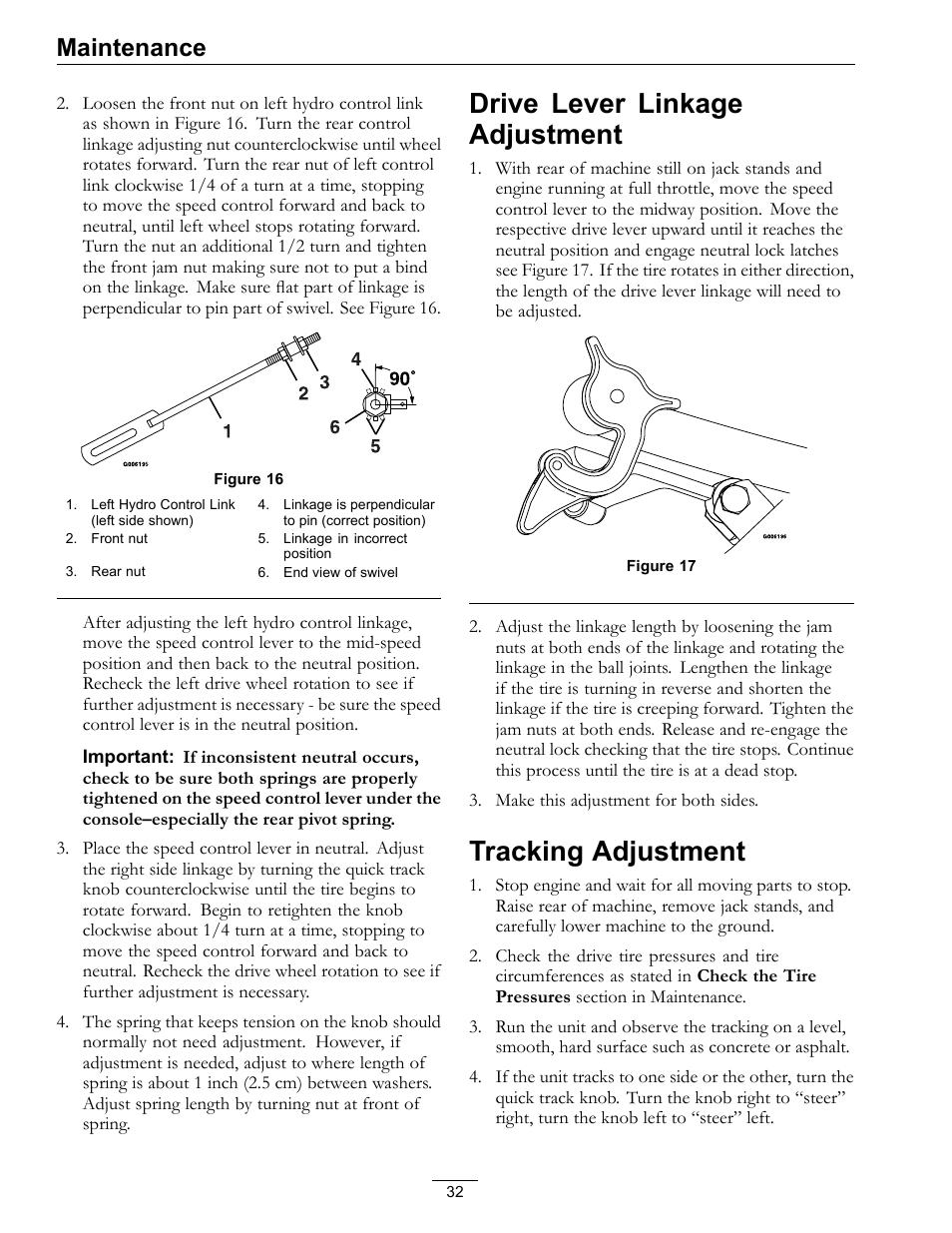Drive lever linkage adjustment tracking adjustment, Drive