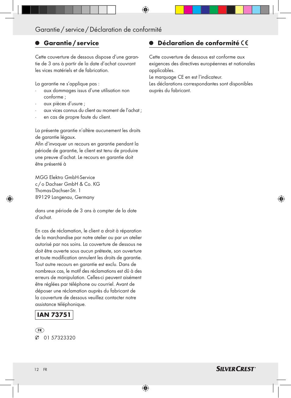 Garantie / service / déclaration de conformité | Silvercrest SWUB 85 A2  User Manual | Page