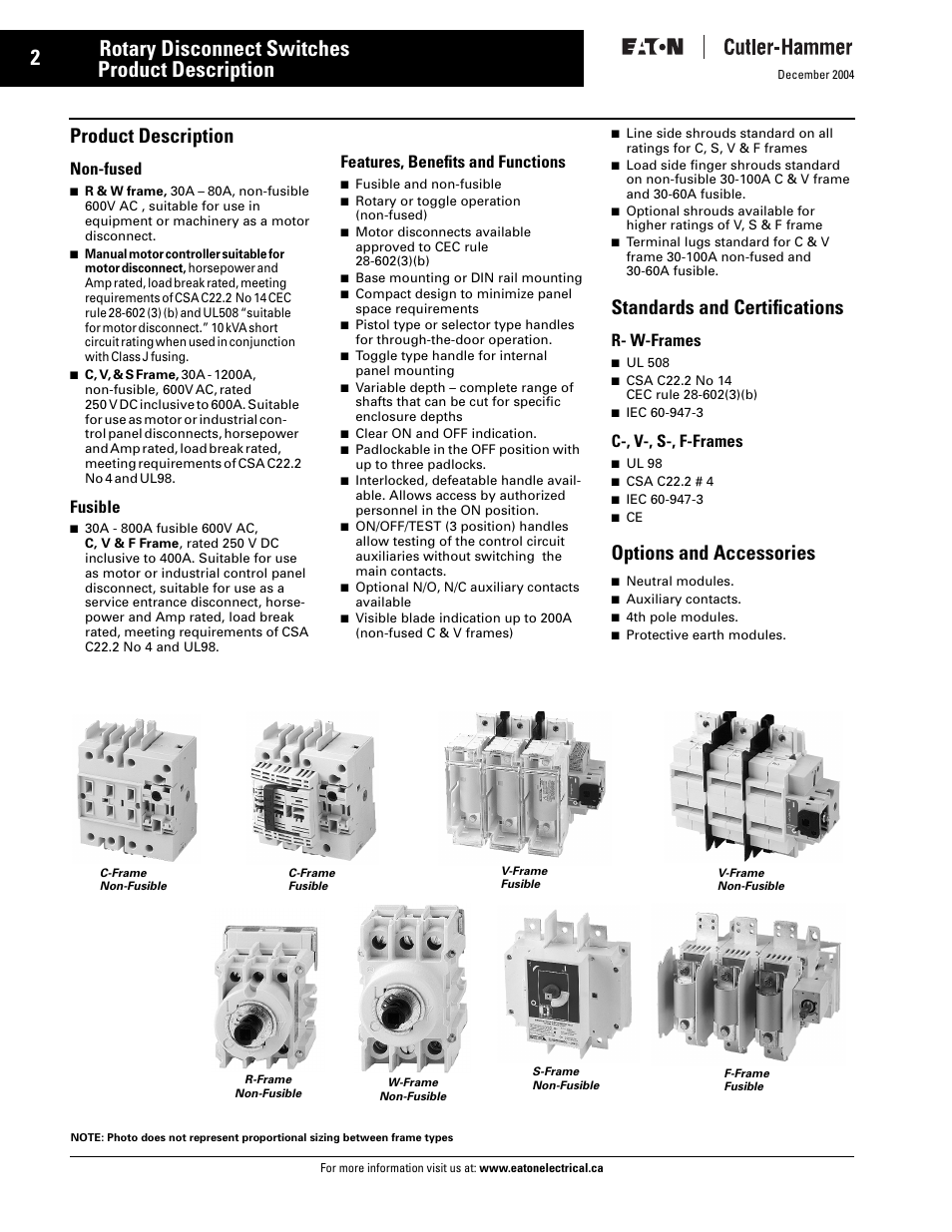 Rotary disconnect switches c362/c363, Product description, Features ...
