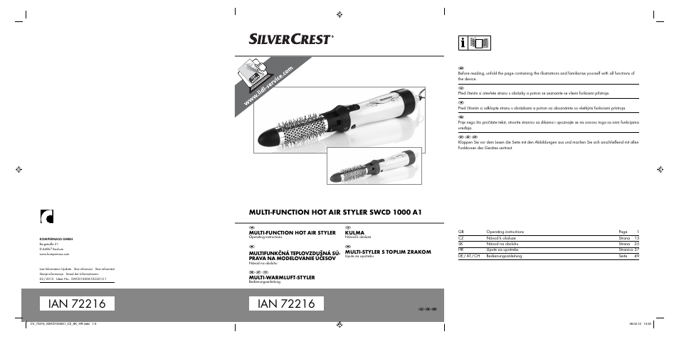 Silvercrest SWCD 1000 A1 Operating Instructions Manual
