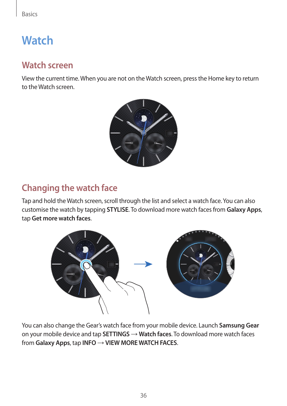 Watch, Watch screen, Changing the watch face | Samsung Gear S3 SM
