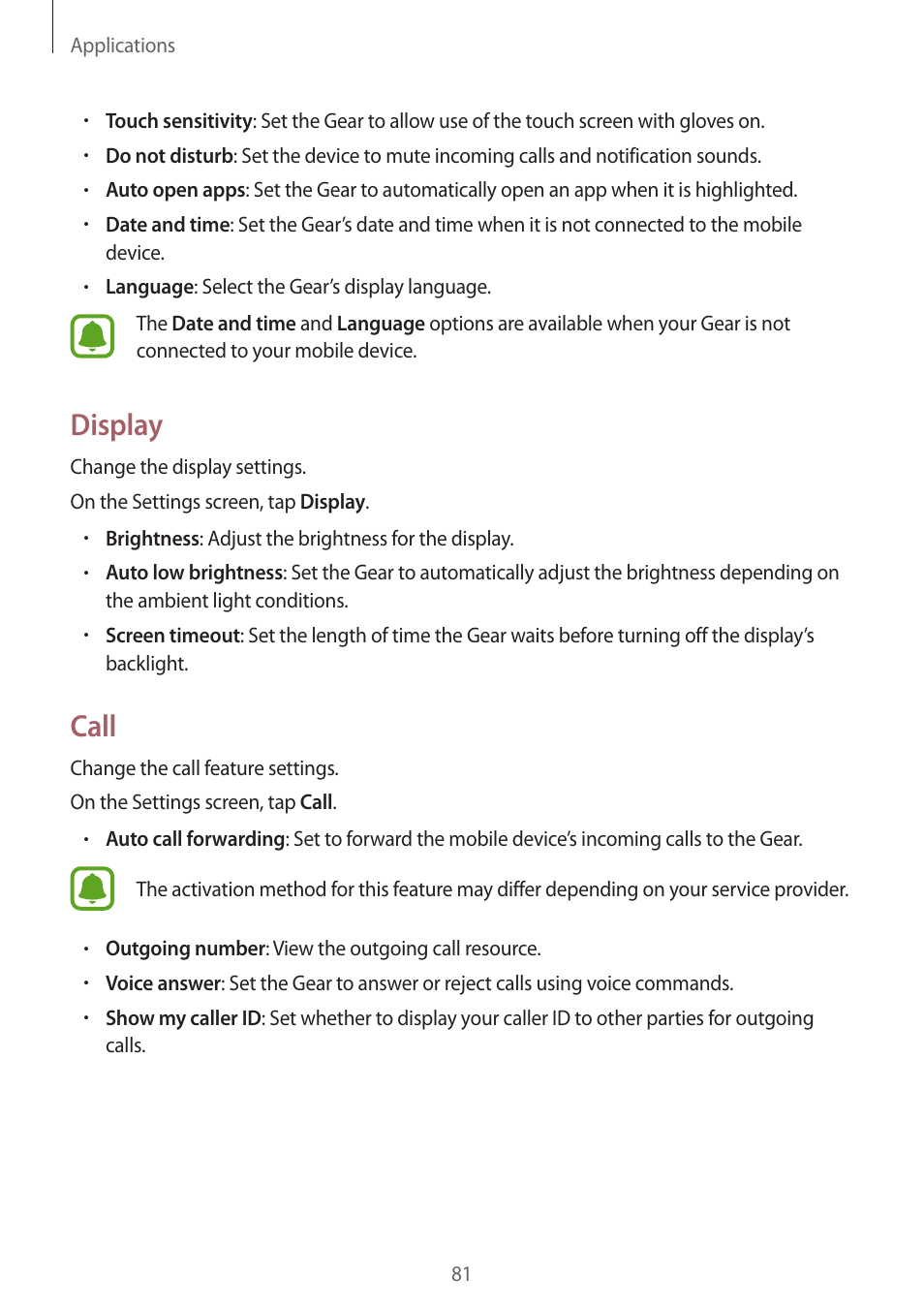 Display, Call, 81 display 81 call | Samsung Gear S3 SM-R760