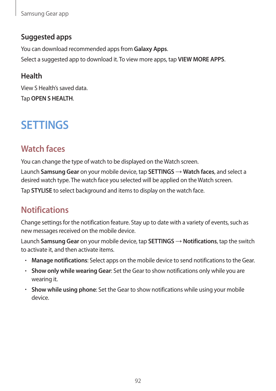 settings watch faces notifications samsung gear s3 sm r760 user rh manualsdir com samsung watch owners manual samsung smartwatch user manual