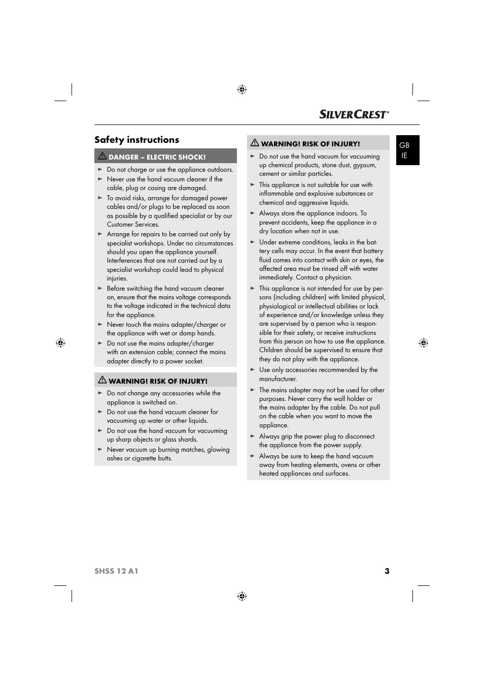 Safety Instructions Silvercrest Shss 12 A1 User Manual Page 6 53 Warning Electric Shock Could Occur If Used On Wet Surfaces