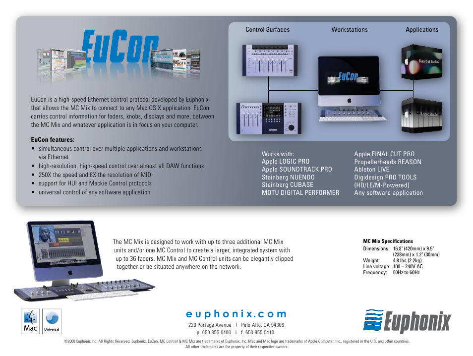Euphonix MC Mix Series MC User Manual | Page 4 / 4