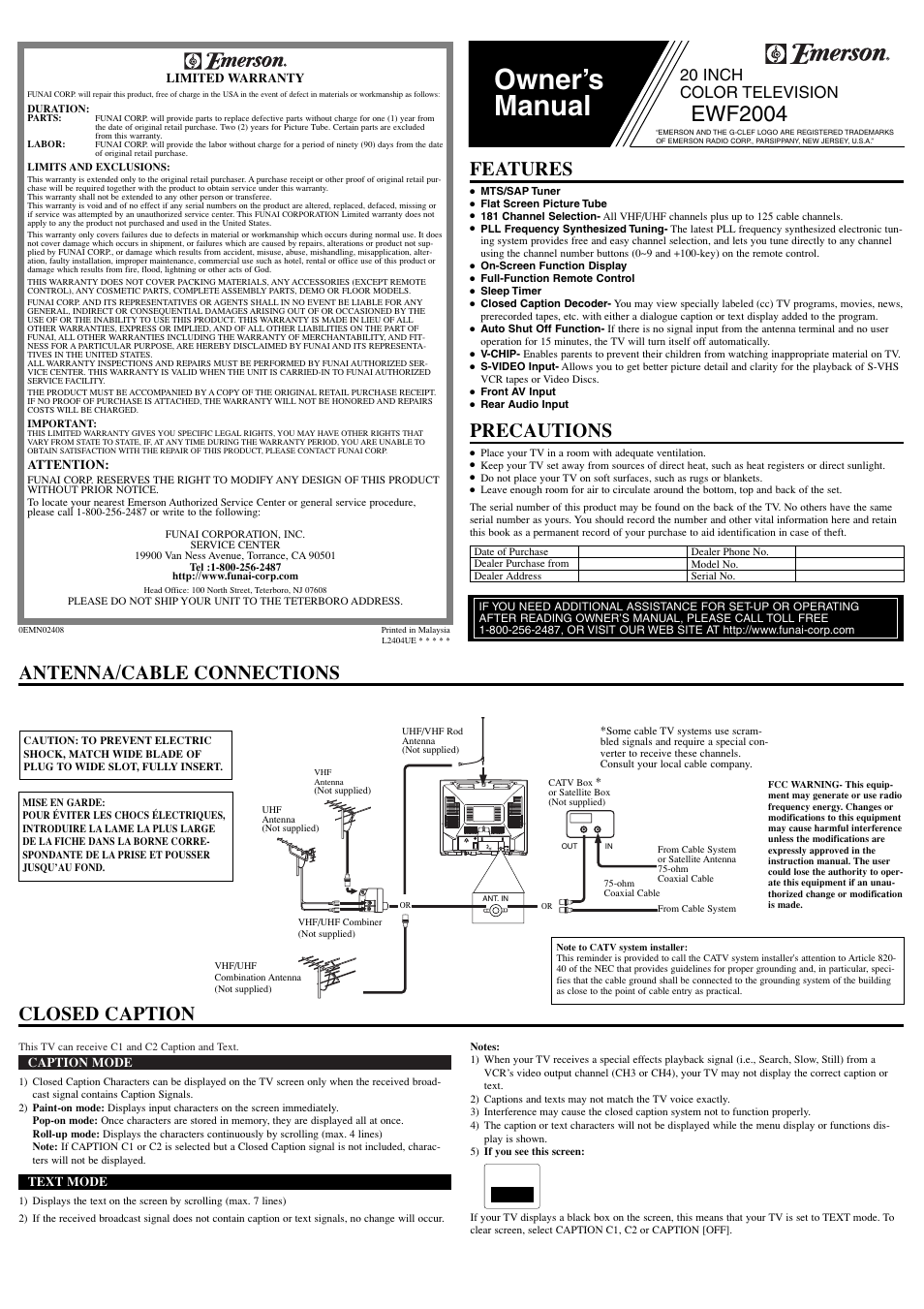 Emerson EWF2004 User Manual | 8 pages