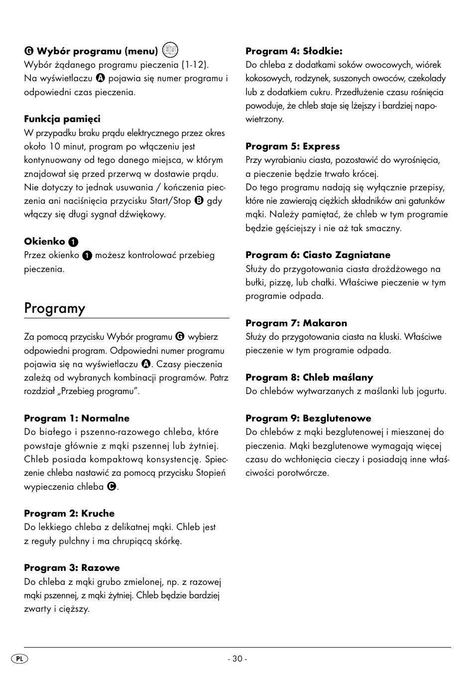 Programy Silvercrest Bread Maker Sbb 850 A1 User Manual Page 33