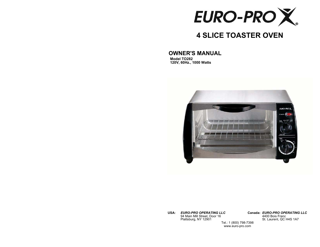 Euro Pro To282 User Manual 4 Pages
