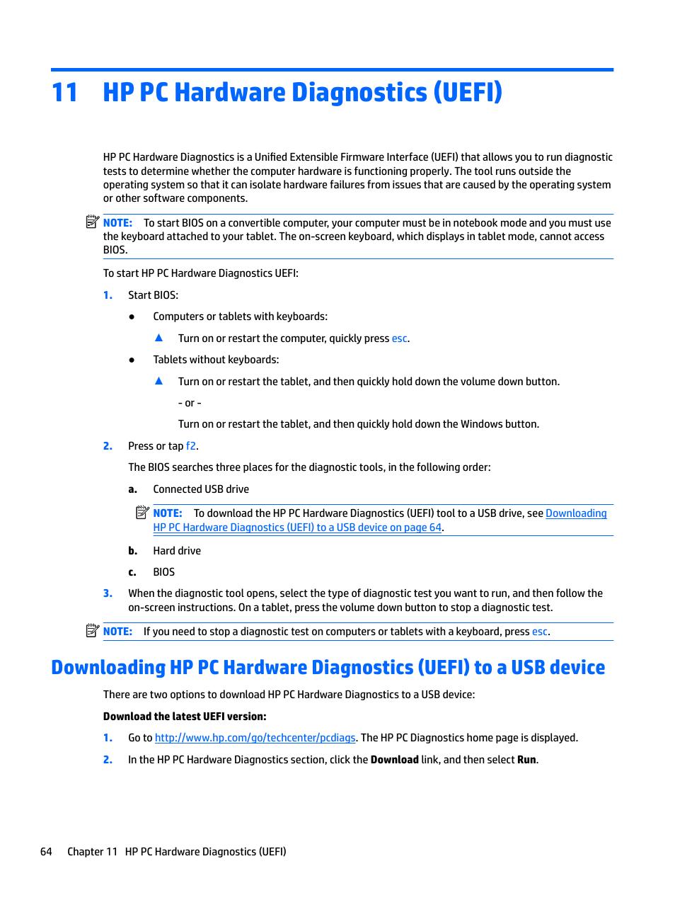 Hp pc hardware diagnostics (uefi), 11 hp pc hardware diagnostics