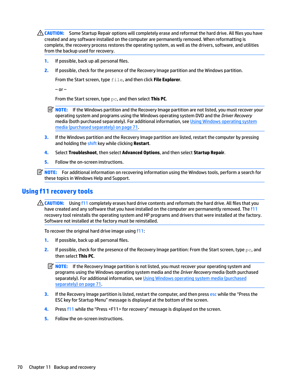 Using f11 recovery tools | HP EliteBook 840 G3 User Manual
