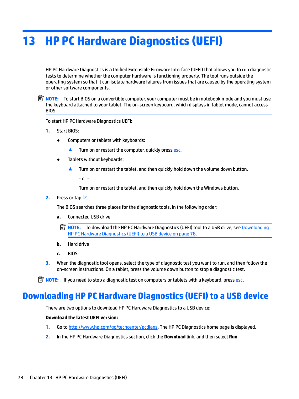 Hp pc hardware diagnostics (uefi), 13 hp pc hardware