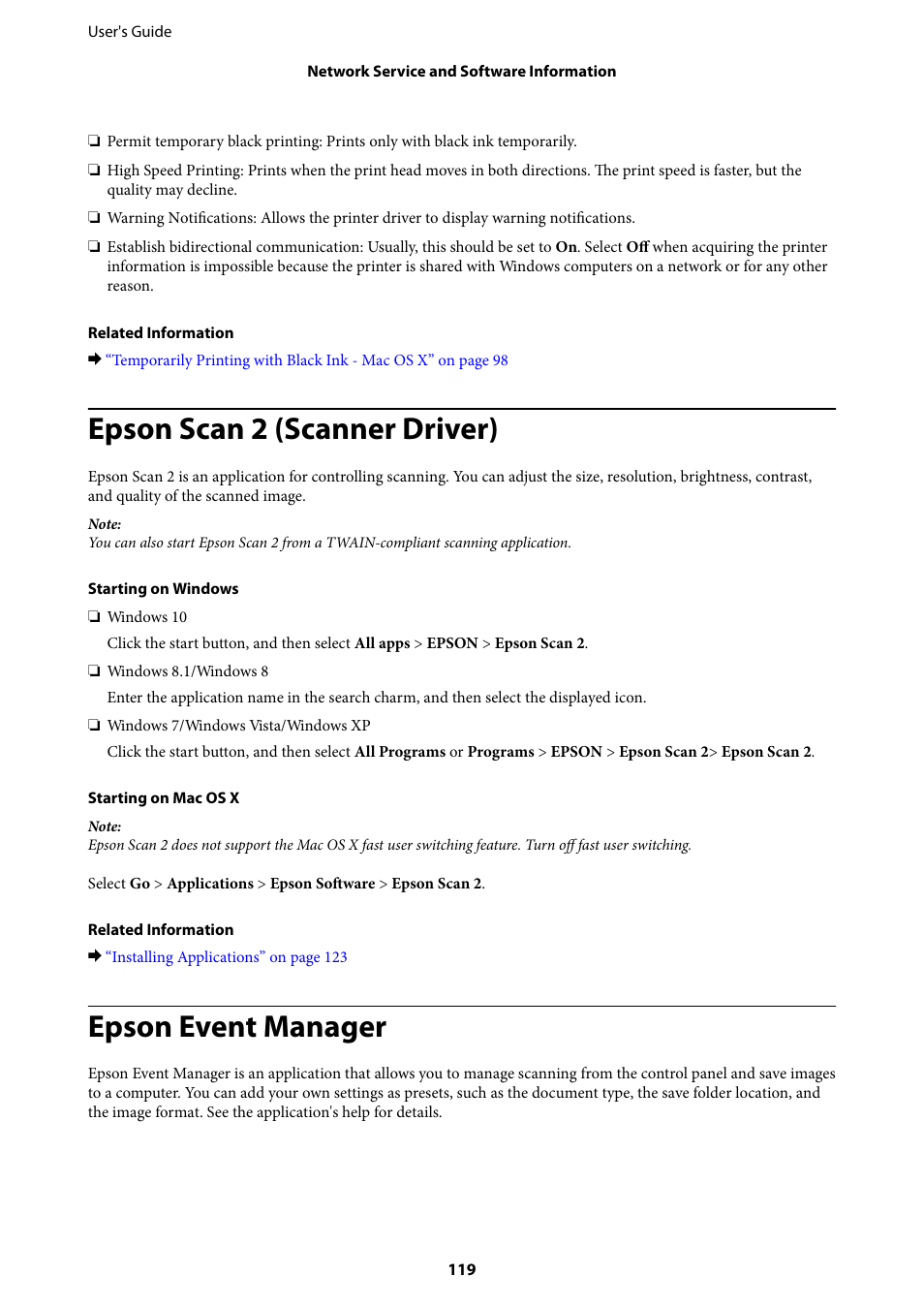 Epson scan 2 (scanner driver), Epson event manager | Epson
