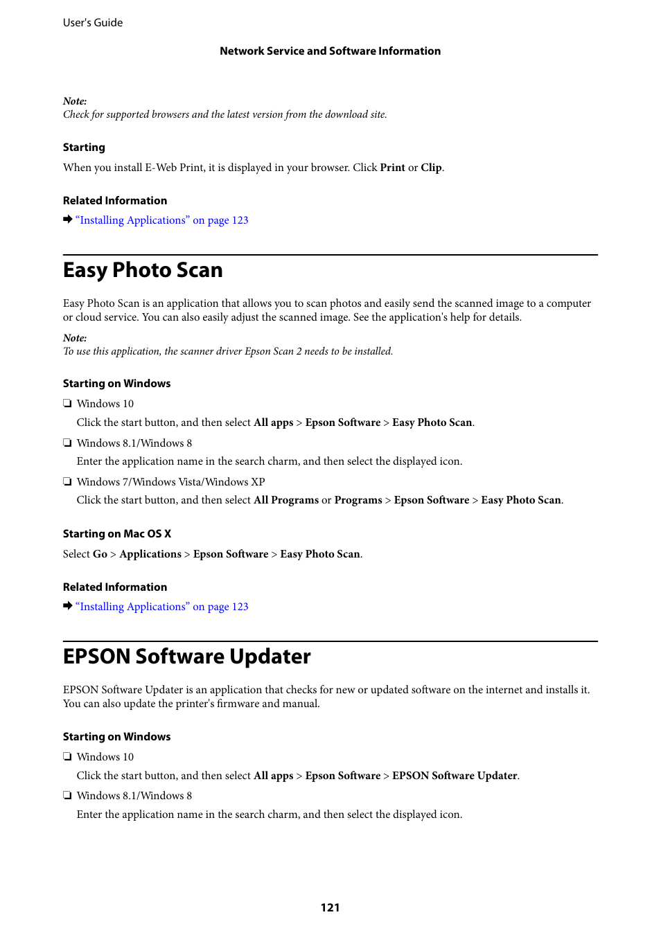 Easy photo scan, Epson software updater | Epson Expression