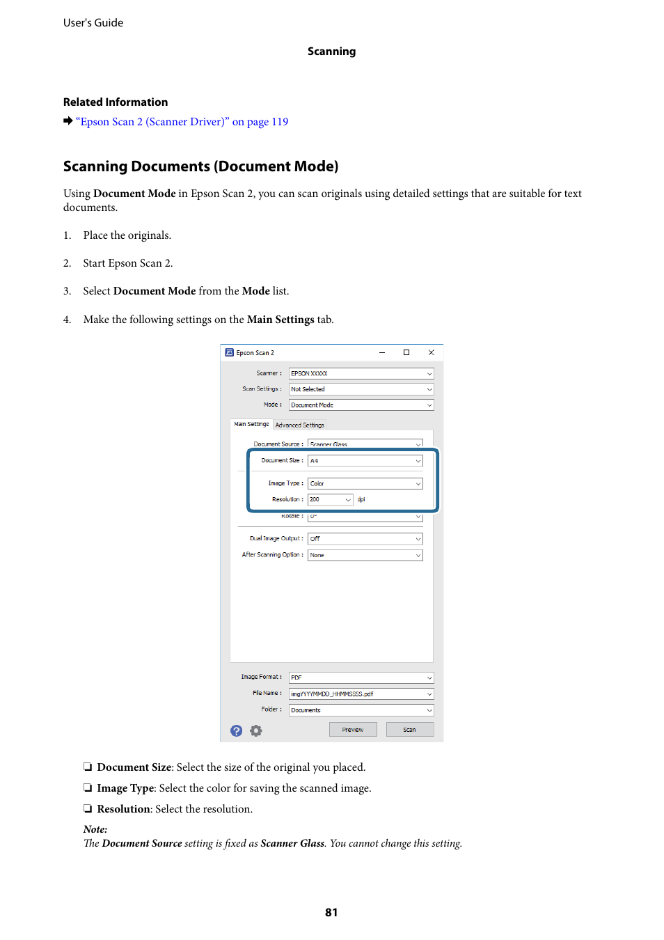 Scanning documents (document mode) | Epson Expression Home XP-342