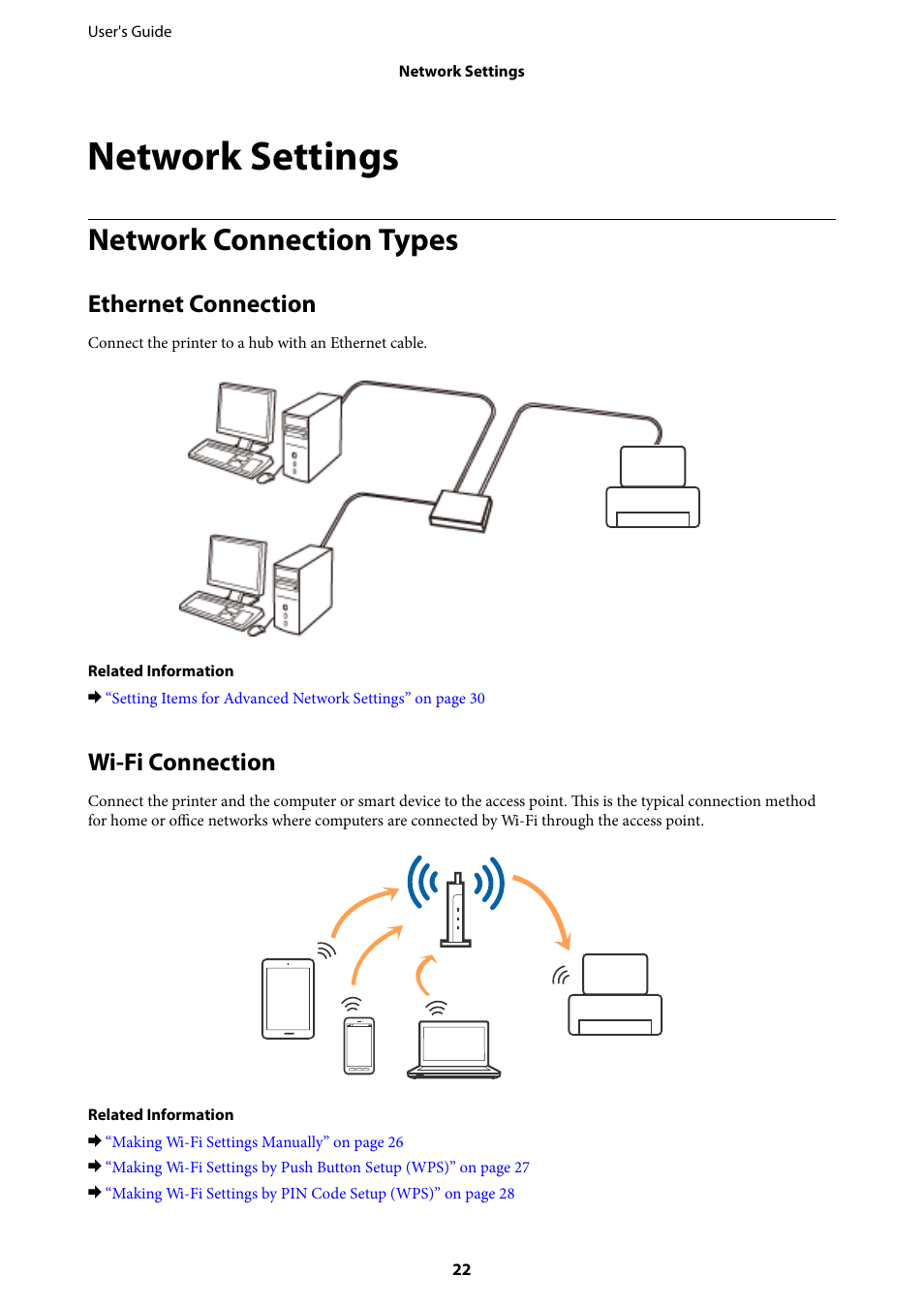 Network Settings Connection Types Ethernet Connect A Wifi Access Point Or Any Device To My Epson L1455 User Manual Page 22 233