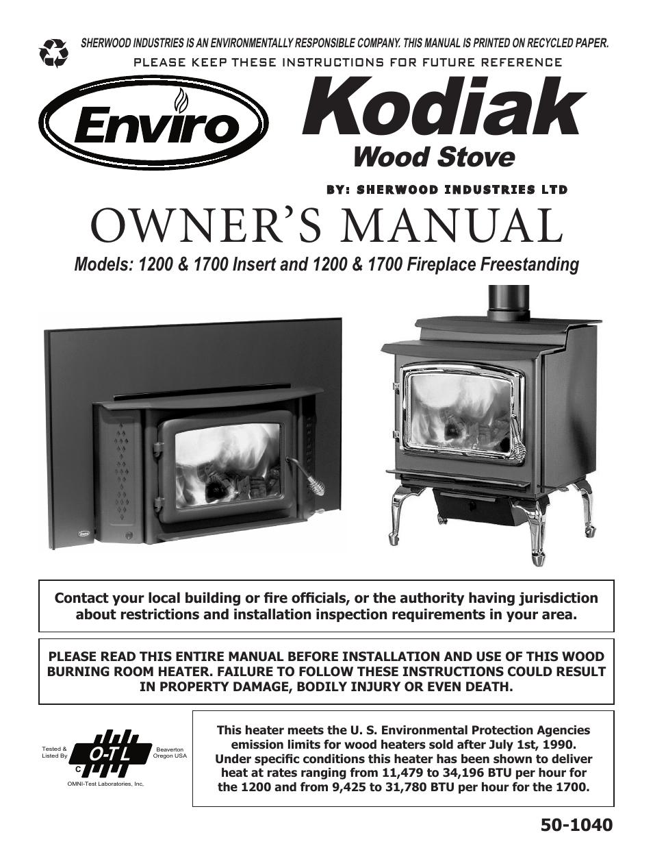 Enviro Kodiak 1700 Fireplace Freestanding User Manual