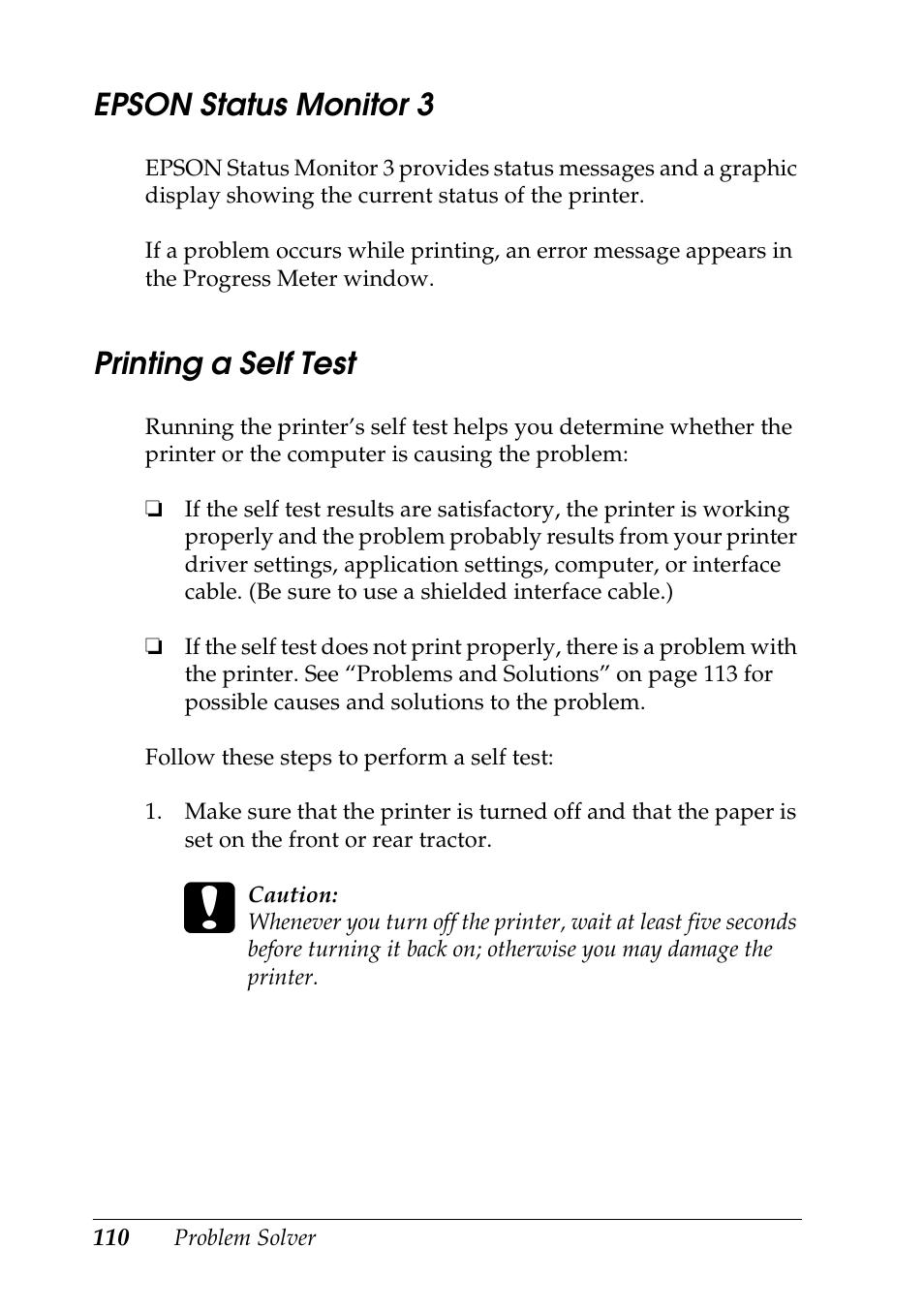 Epson status monitor 10, Printing a self test  Epson DFX-10 User