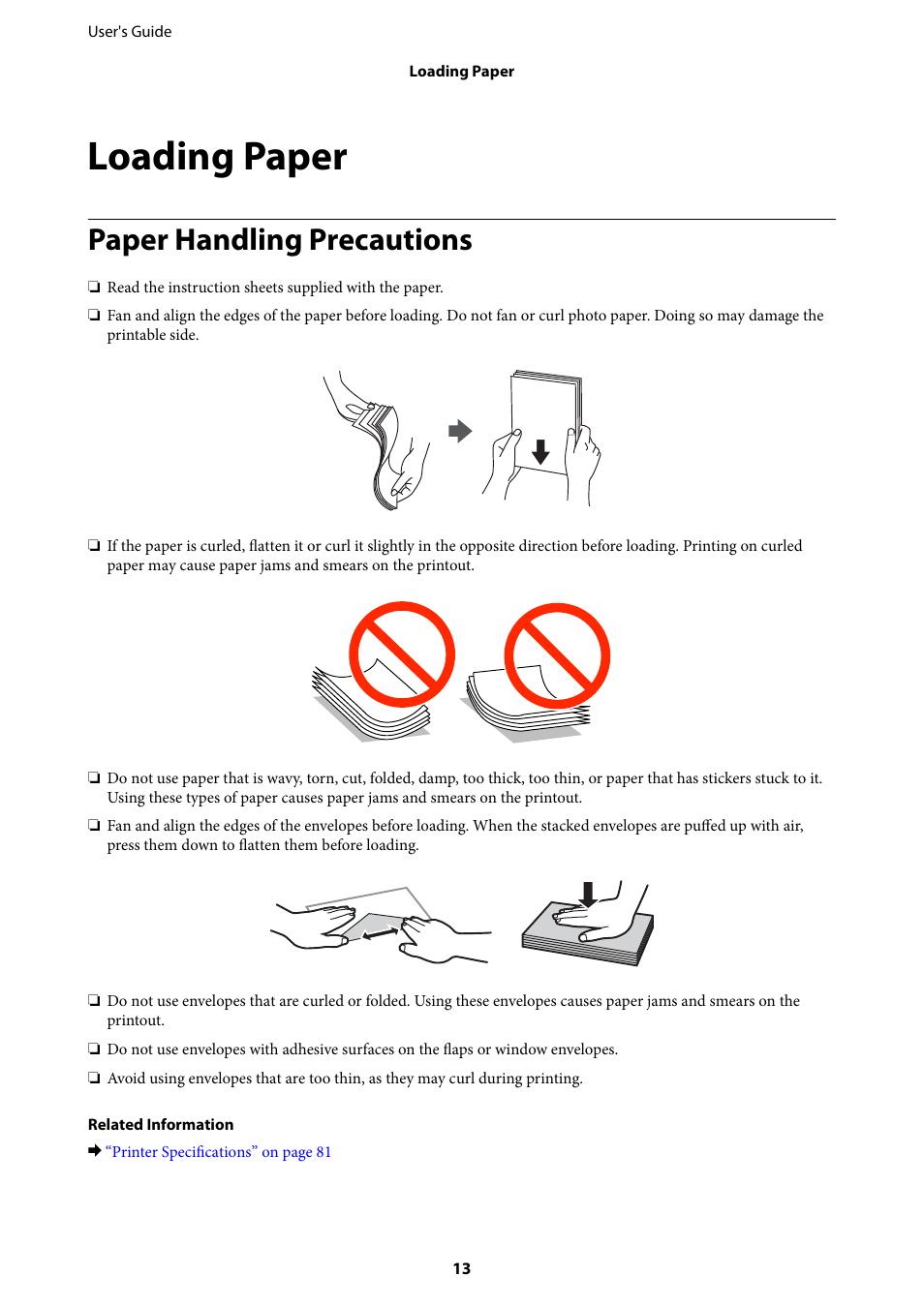 Loading paper, Paper handling precautions | Epson L805 User