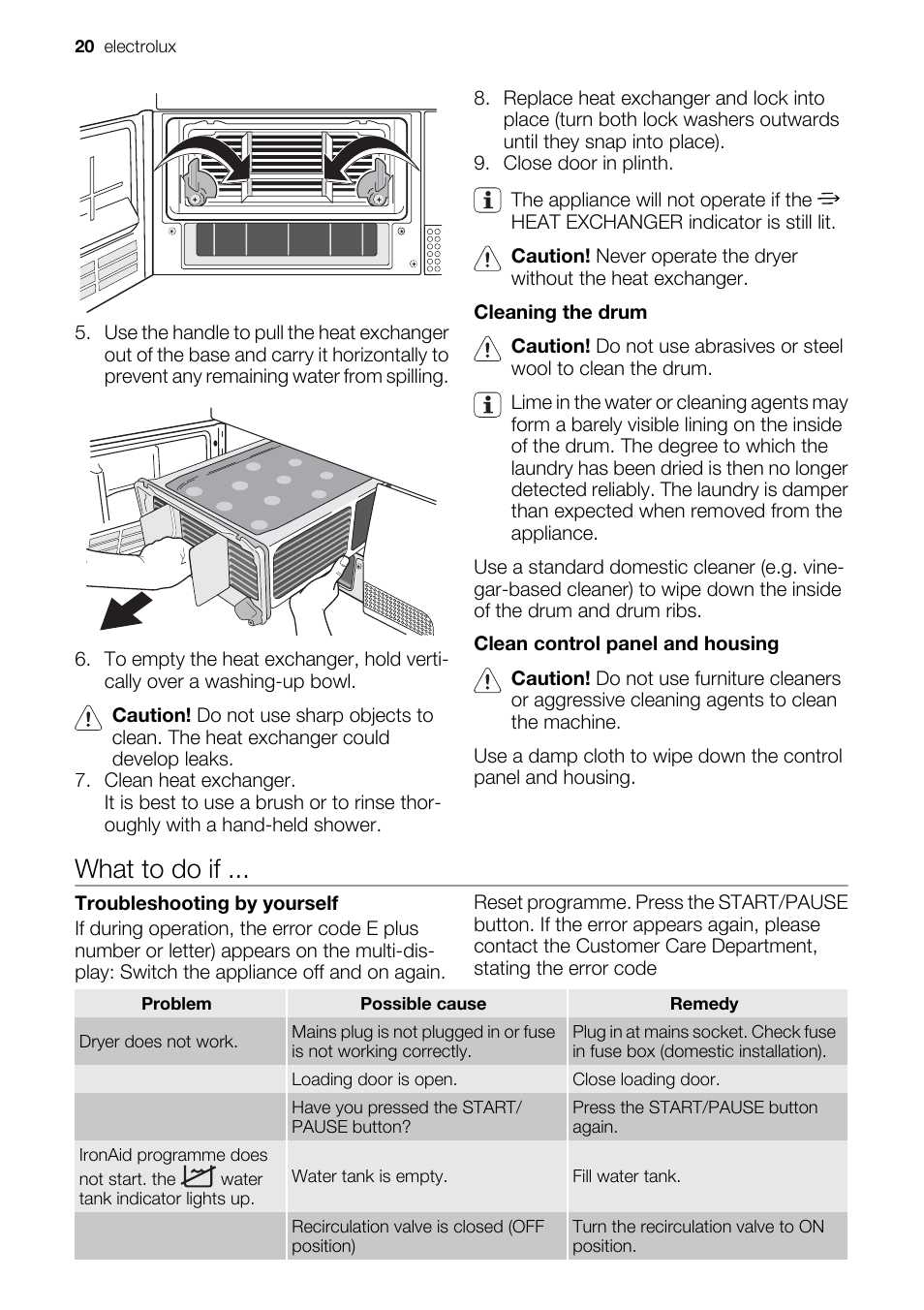 what to do if electrolux edi97170w user manual page 20 28