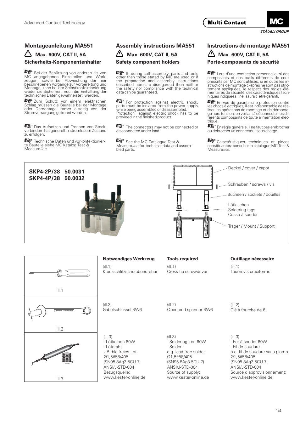 Multi-Contact MA551 User Manual | 4 pages