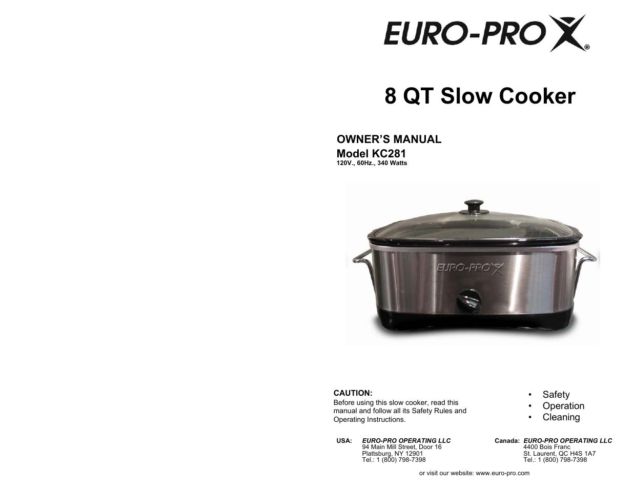 euro pro kc281 user manual 8 pages rh manualsdir com Rectangle Euro-Pro Slow Cooker Euro-Pro Crock Pot Manual