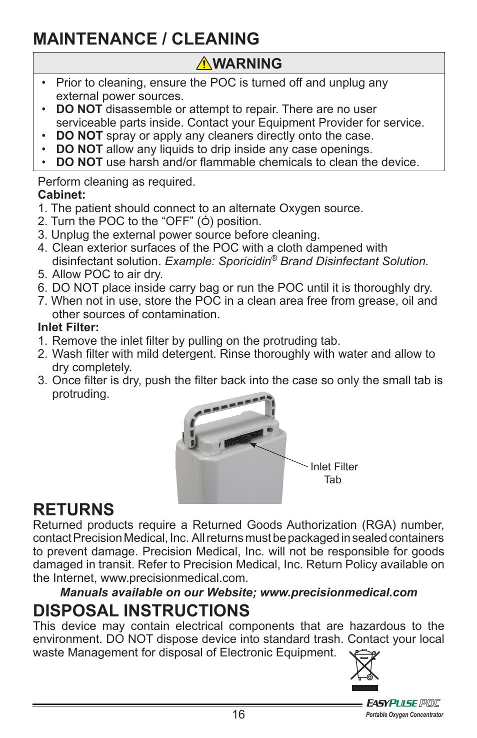 Maintenance    Cleaning  Returns  Disposal Instructions