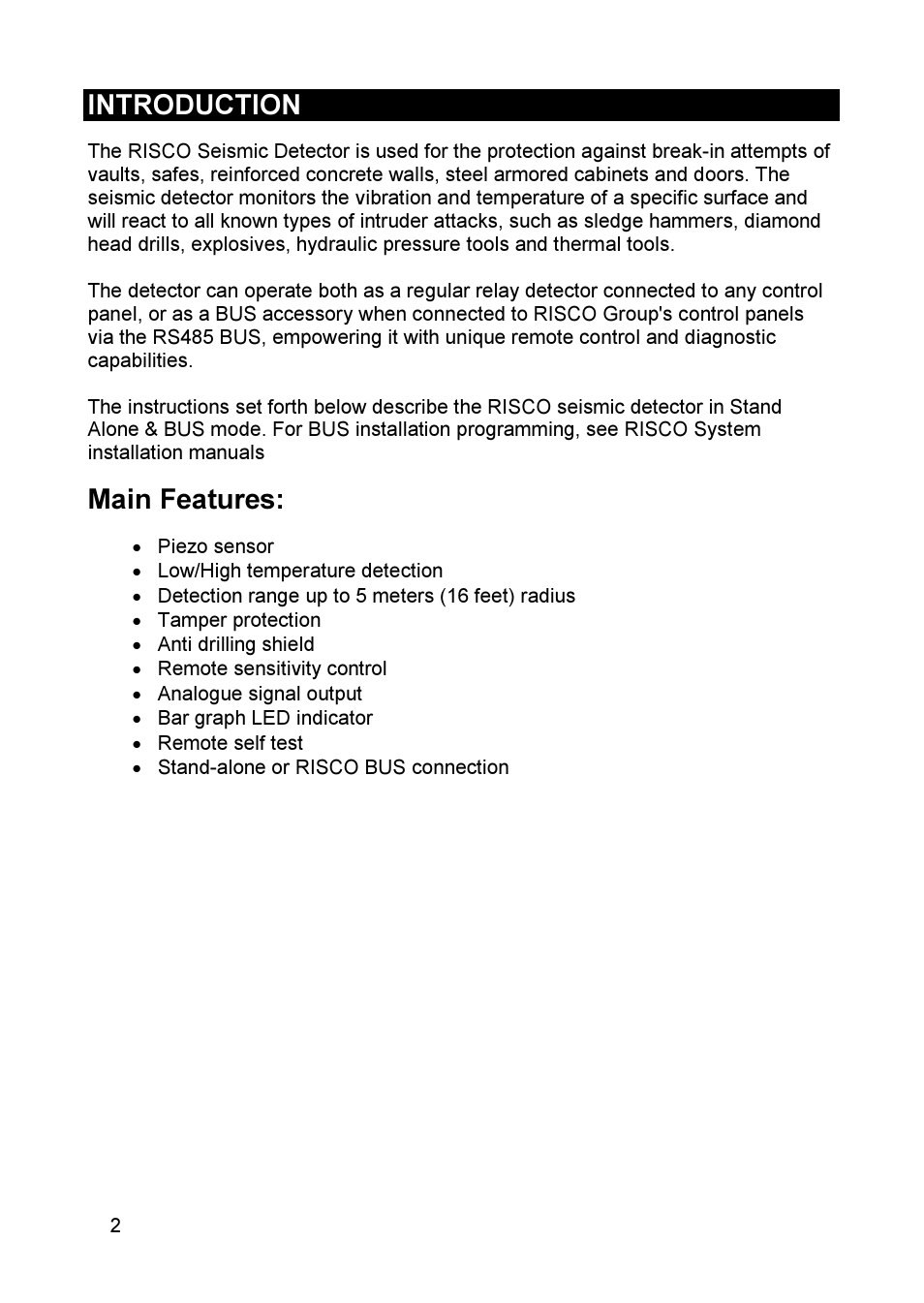 Introduction Main Features Risco Group Seismic Detector Rk66s Vibration Sensor User Manual Page 2 60