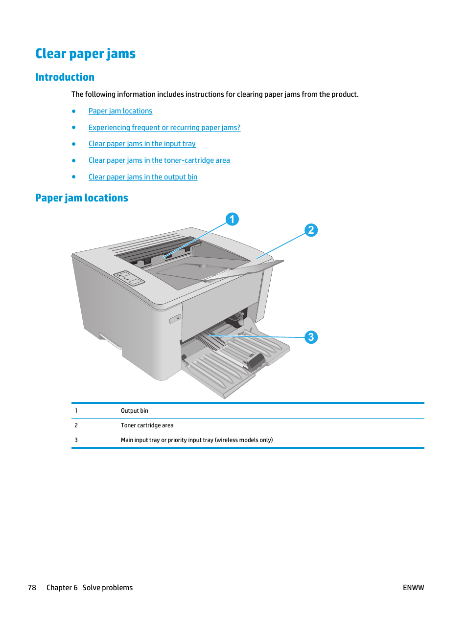 Clear paper jams, Introduction, Paper jam locations | HP
