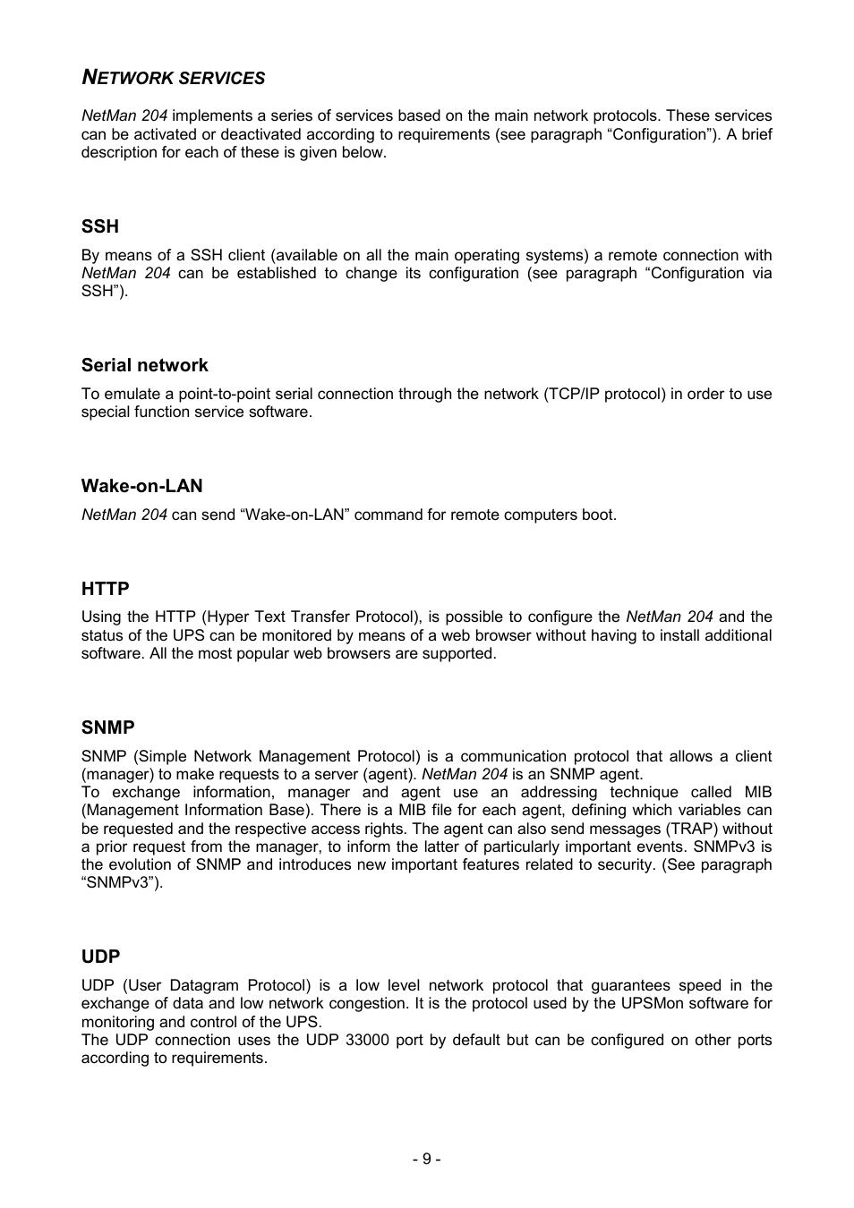 Network services, Serial network, Wake-on-lan | Riello UPS NetMan