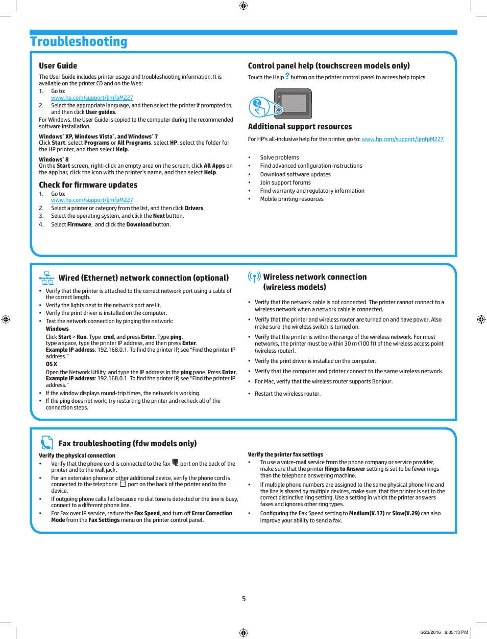 Troubleshooting, Wired (ethernet) network connection (optional), Wireless  network connection (