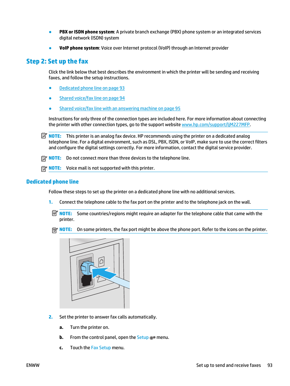 Step 2 Set Up The Fax Dedicated Phone Line Hp Laserjet Pro Mfp How To Hook Jack M227fdw User Manual Page 105 206