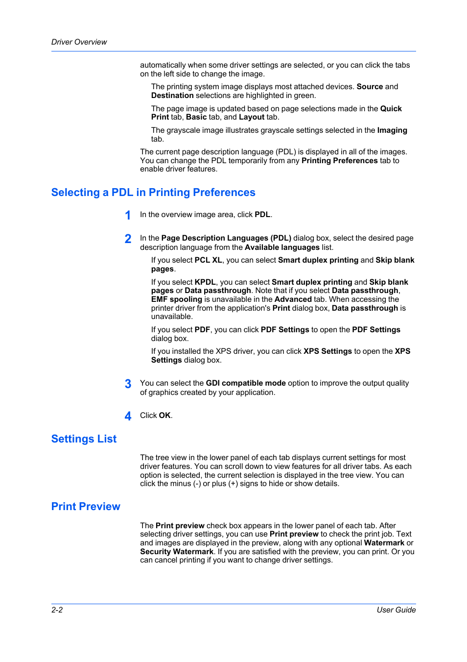 Selecting A Pdl In Printing Preferences Settings List Print Kyocera M 2040 Dn Preview Ecosys M2040dn