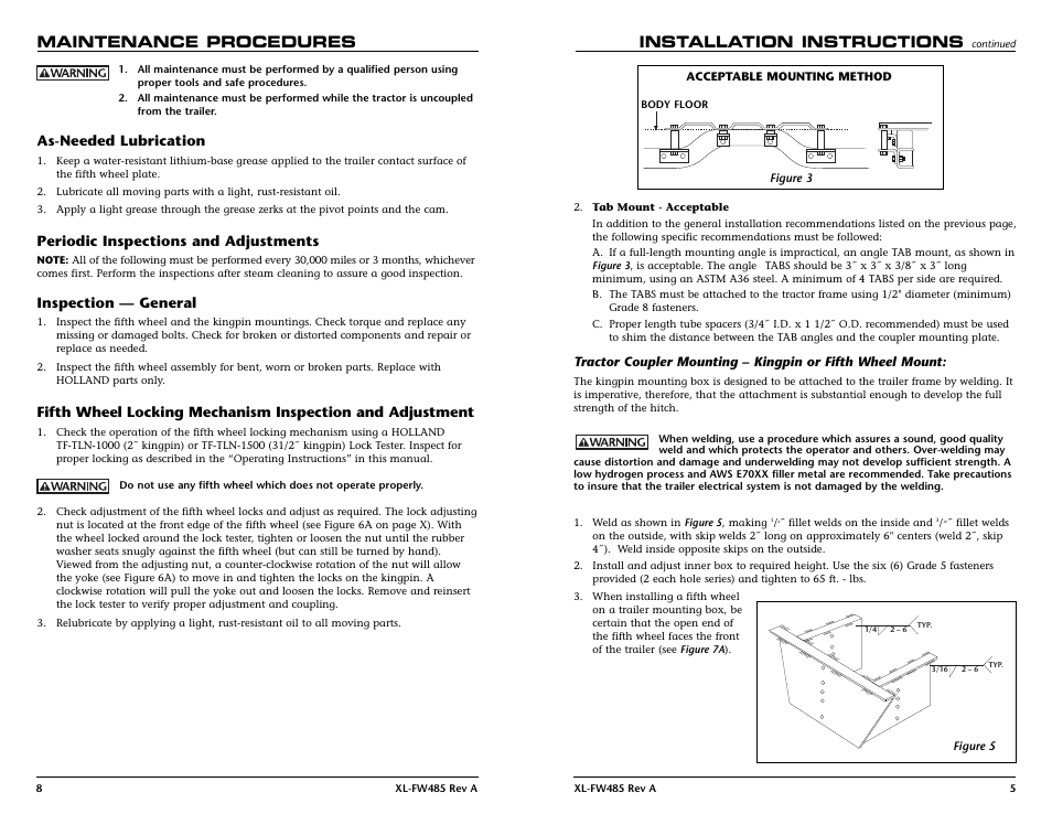 Maintenance Procedures Installation Instructions As Needed