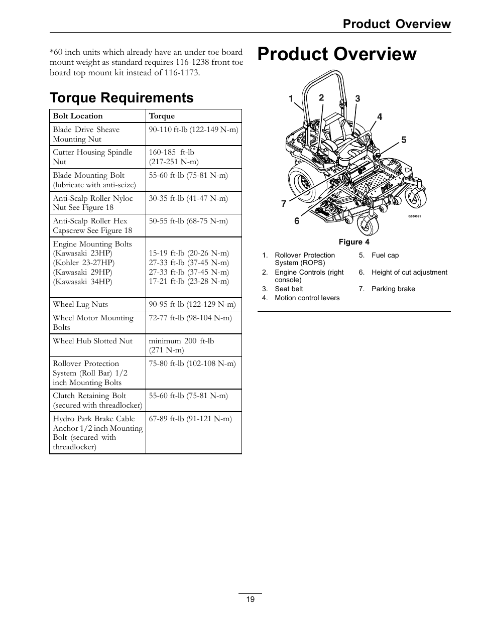 Torque requirements, Product overview | Exmark Lazer Z Mower