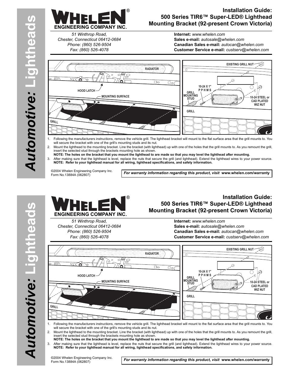 Whelen 500 Series Tir6 Wiring Diagram 700 Led 5bkt1 User Manual 1 Page On Blue