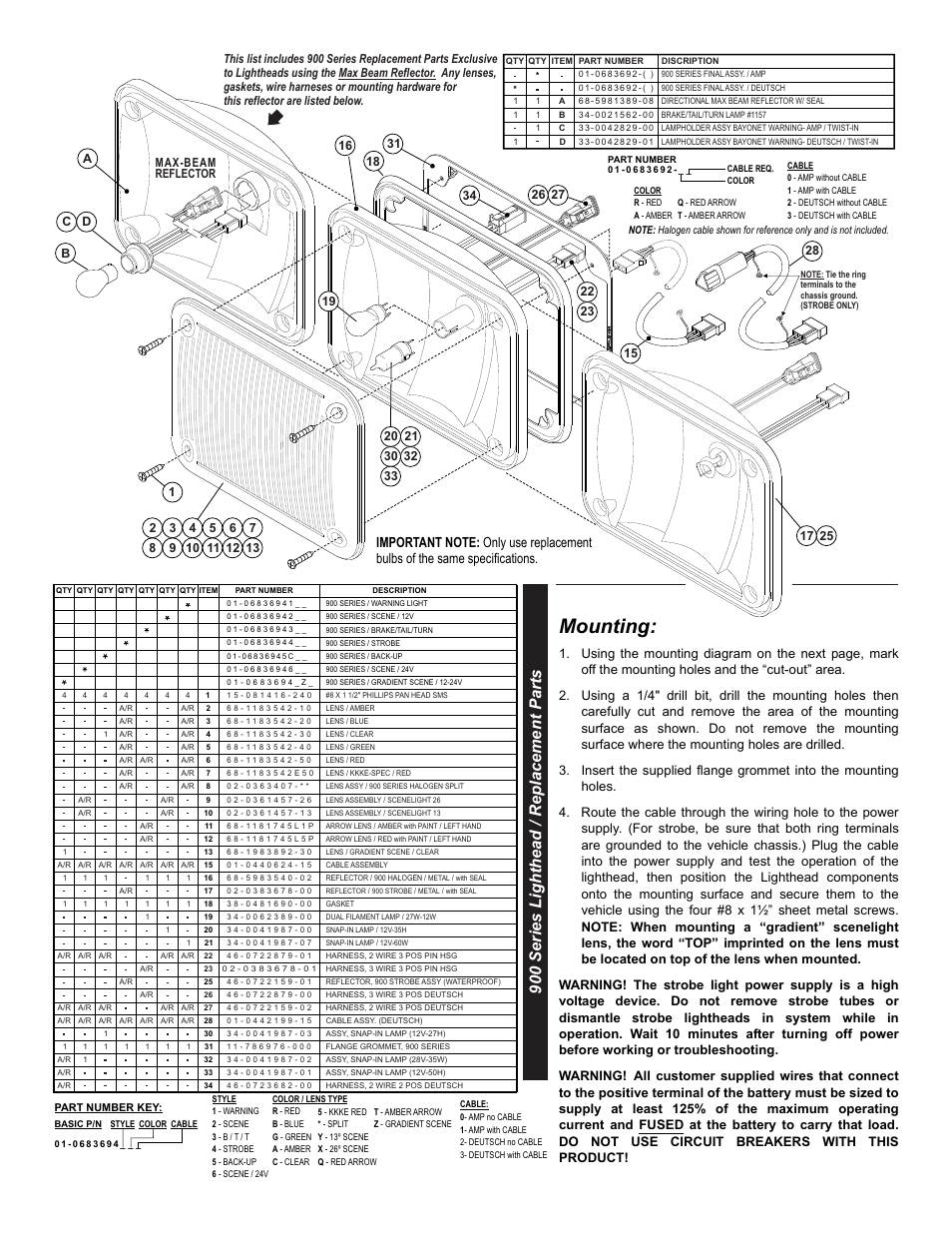 Whelen Parts Diagrams Worksheet And Wiring Diagram Tpac Some Rca Converter Mounting 900 Series Lighthead Replacement Page 2 Rh Manualsdir Com Siren Engineering