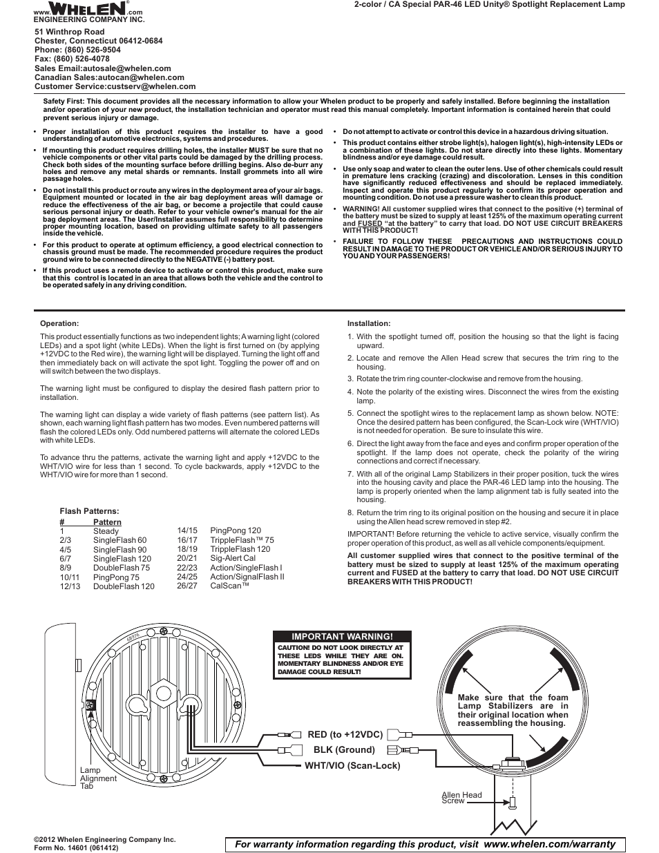 Whelen P46s2x User Manual 1 Page Unity Spotlight Wiring Diagram