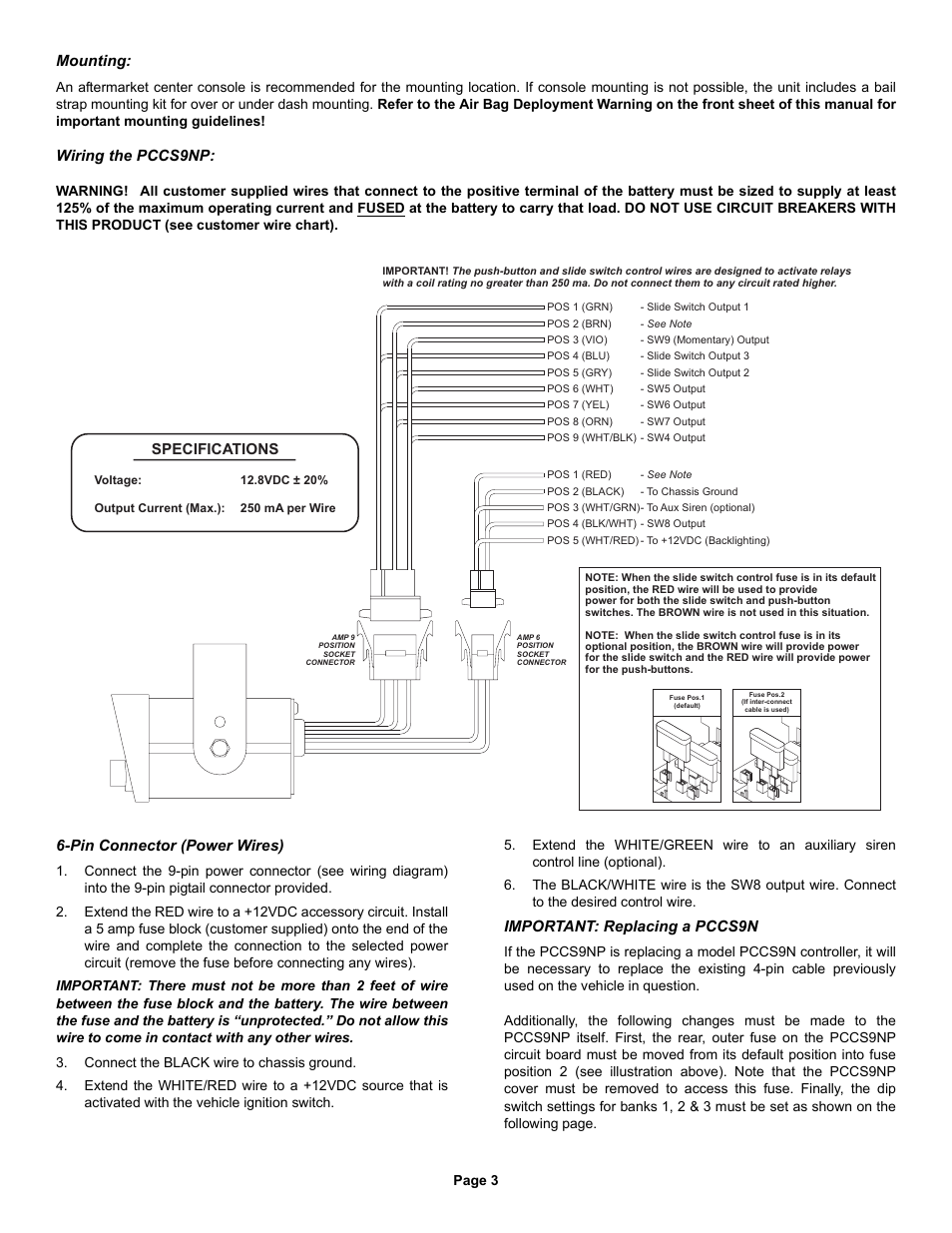 Specifications Mounting Wiring The Pccs9np Whelen User Control Box Diagram Manual Page 3 4
