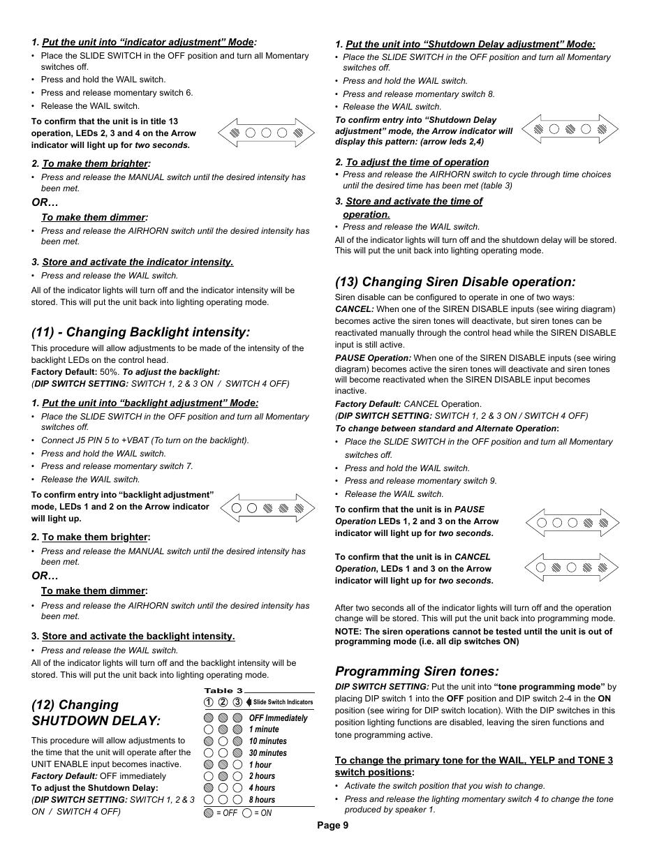 11 Changing Backlight Intensity 12 Shutdown Delay 13 Change Whelen Siren Tones Disable Operation 295sda1 User Manual Page 9 10