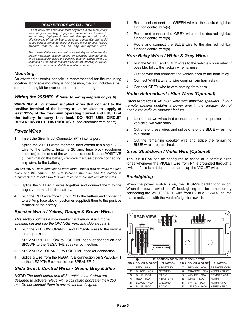 Whelen 295hfsa5 Wiring Diagram Free Download 295hfsa1 Mounting The 295hfs 5 Power Wires User At