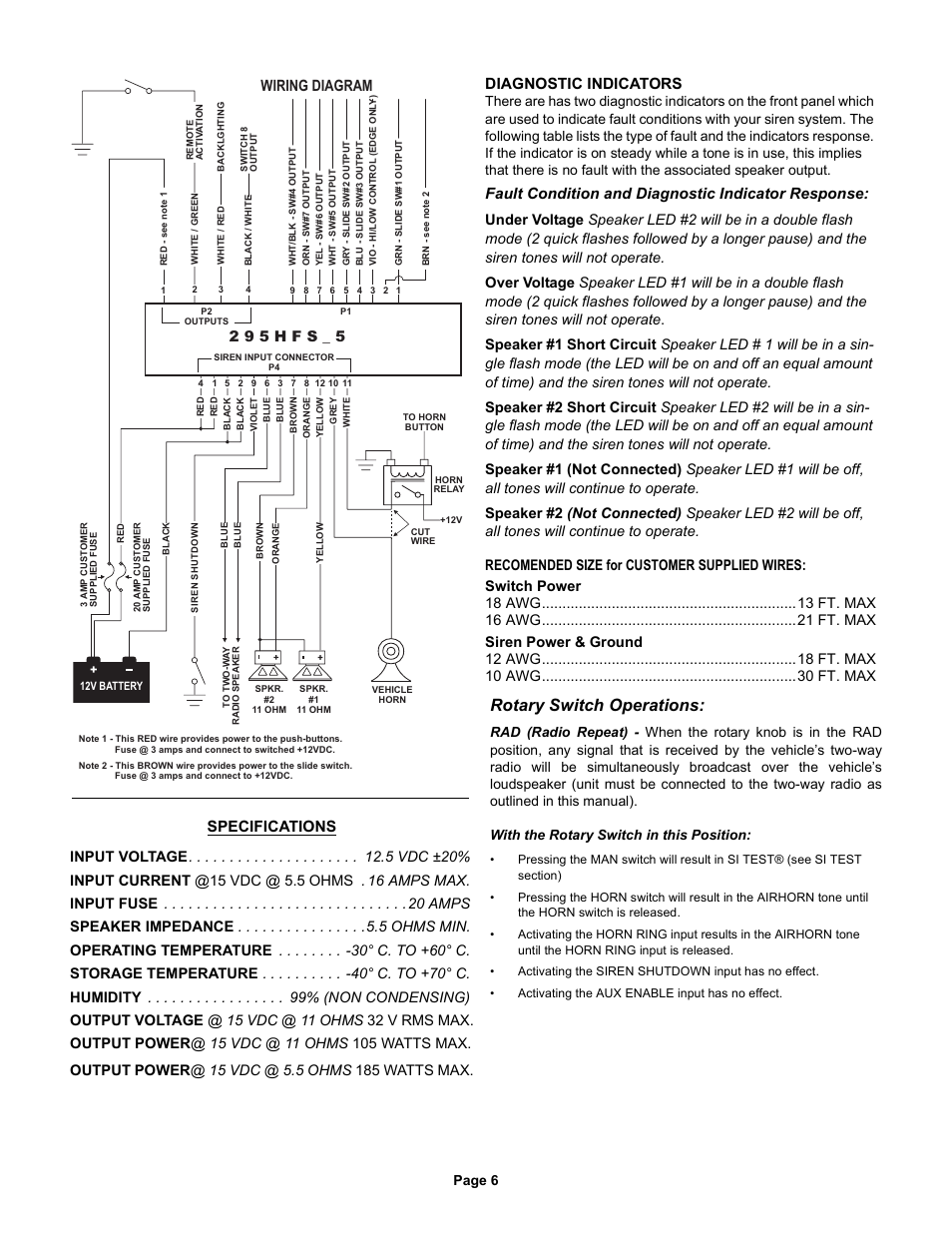 Whelen 295hfsa5 Installation Manual Data Wiring Diagrams How To Install Siren Rotary Switch Operations Diagram 2 9 5 H F S Rh Manualsdir Com 295hfsa6 295hfsa1