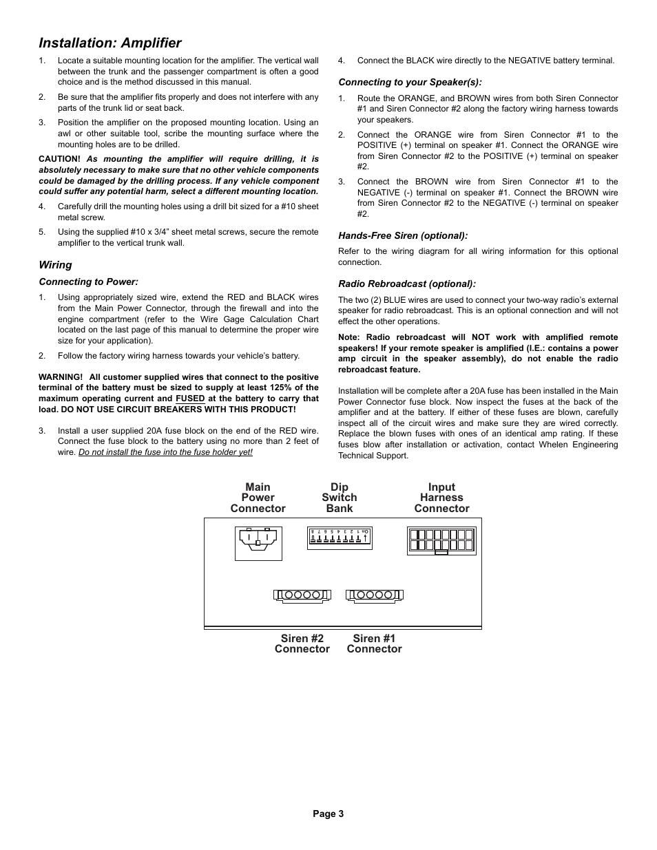Installation Amplifier Whelen 295hfsa7 User Manual Page 3 8 Switch Box Wiring Diagram