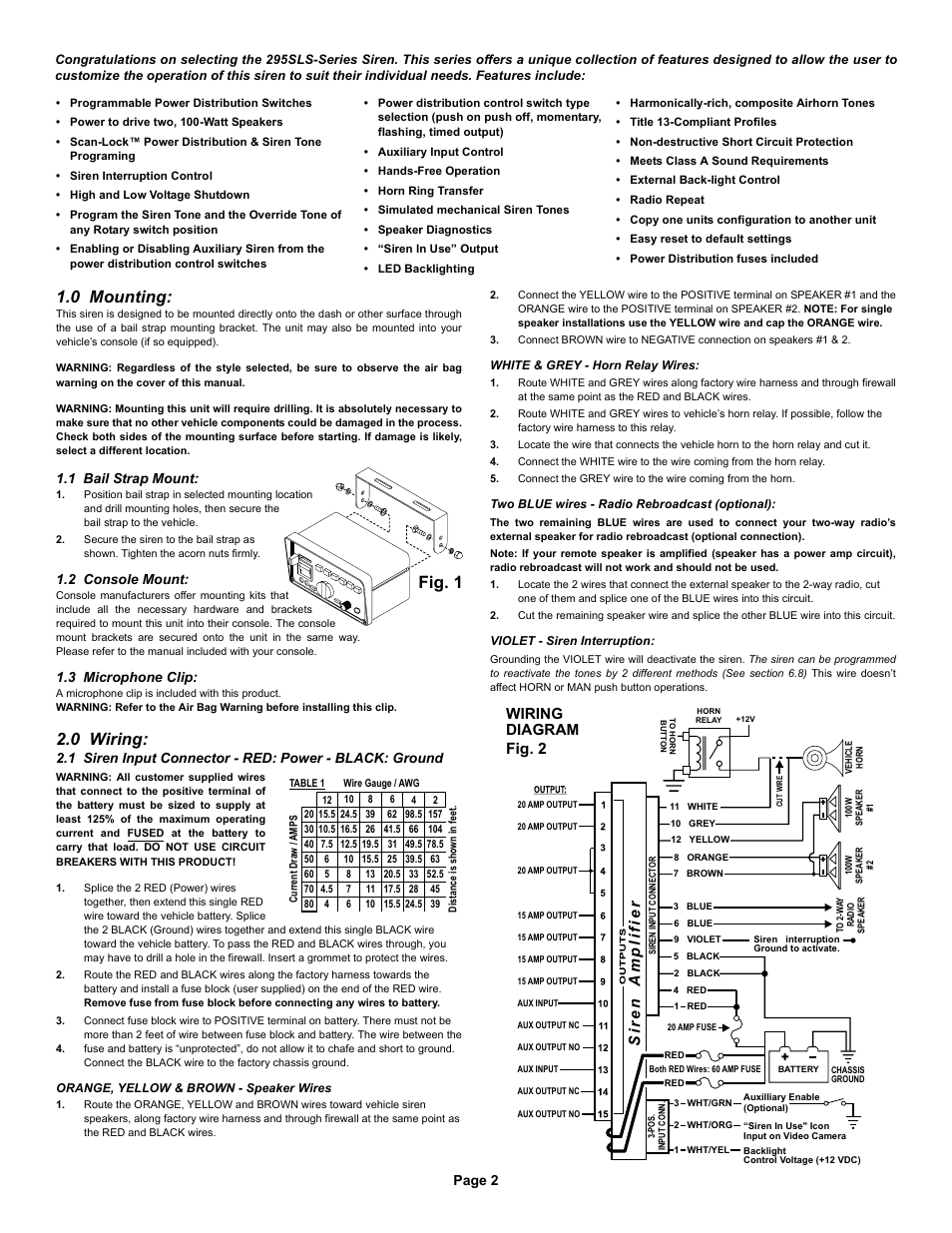 Fig. 1 1.0 mounting, 0 wiring, Wiring diagram | Whelen 295SLSA6 User Manual  | Page 2 / 6 | Original modeManuals Directory