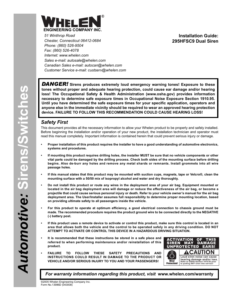 Whelen 295hfsc9 User Manual
