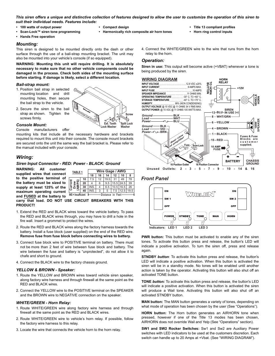 Whelen Gamma 2 Wiring Diagram Trusted Schematics 295sl100 Front Panel Mounting Gamma2 User Manual Page 3 Edge 9000 Installation
