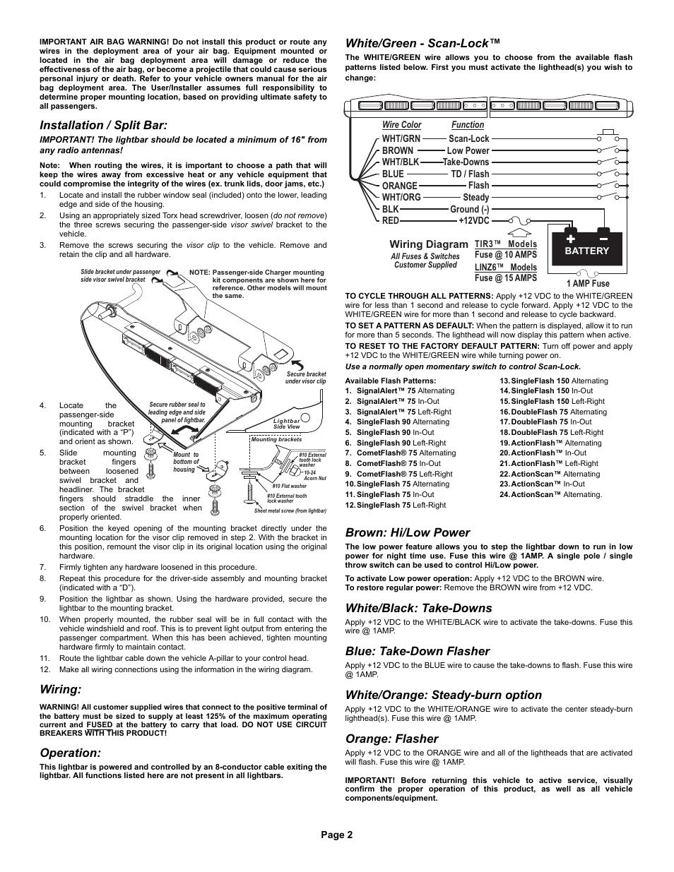 Installation / split bar, Wiring, Operation   Whelen I06UF4P User ...
