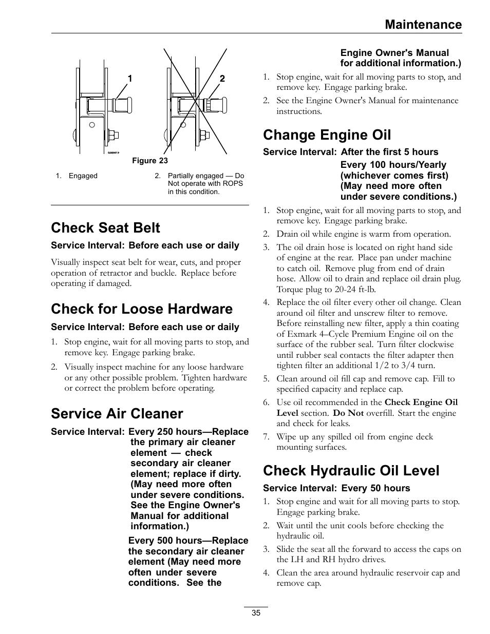 check seat belt check for loose hardware service air cleaner rh manualsdir com exmark lazer z s series owners manual exmark lazer z owners manual