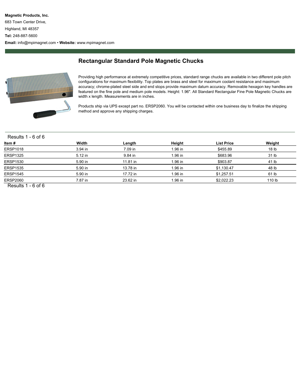 Magnetic Products Rectangular Standard Pole Magnetic Chucks User Manual | 1  page | Also for: Eclipse Standard Rectangular Fine Pole Magnetic Chucks, ...